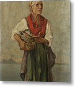 Fish Seller With The Vesuvio In The Background Metal Print