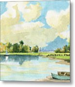 Fishing Lake Metal Print