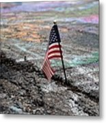 Flag In A Crack In The Pavement Metal Print