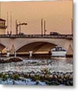 Flagler Bridge In Lights Panorama Metal Print
