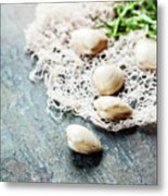 Food Background With Seafood And Wine Metal Print