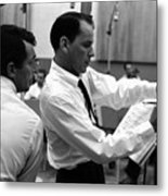 Frank Sinatra And Dean Martin At Capitol Records Studios 1958. Metal Print