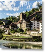 Fribourg Old Town In Switzerland Metal Print