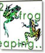 2 Frogs Leaping Metal Print