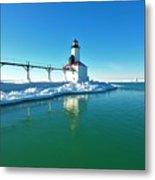 Frozen Lighthouse Metal Print