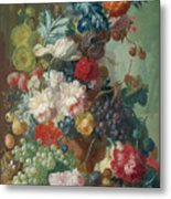 Fruit And Flowers In A Terracotta Vase Metal Print