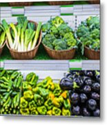 Fruits And Vegetables On A Supermarket Shelf Metal Print by Deyan Georgiev