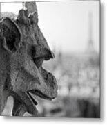 Gargoyle Guarding The Notre Dame Basilica In Paris Metal Print