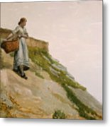 Girl Carrying A Basket  Metal Print