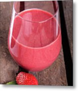 Glass With Strawberry Cocktail On Wooden Plank Metal Print