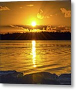 Golden Sunrise Waterscape Metal Print