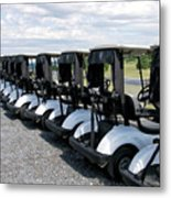 Golfing Golf Carts Metal Print