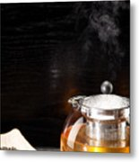 Gunpowder Green Tea In Glass Teapot Metal Print