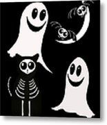 Halloween Bats Ghosts And Cat Metal Print