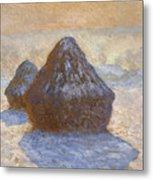 Haystacks, Snow Effect Metal Print