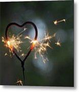 Heart Shape Sparkler Metal Print