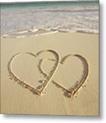 2 Hearts Drawn On The Beach Metal Print