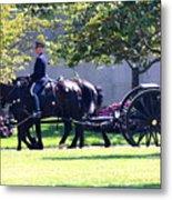 Horse And Caisson Team At Arlington Cemetery Metal Print