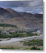 Indus River And Kargil City Leh Ladakh Jammu Kashmir India Metal Print