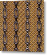 Iron Chains With Wood Seamless Texture Metal Print