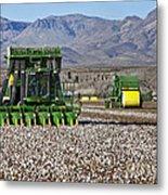 John Deere Cotton Pickers Harvesting Metal Print