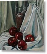 Jug With Apples Metal Print