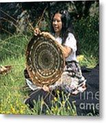 Kashia Pomo Woman Weaving Metal Print