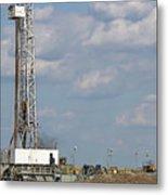 Land Oil Drilling Rig On Oilfield Metal Print