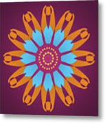 Landscape Purple Back And Abstract Orange And Blue Star Metal Print