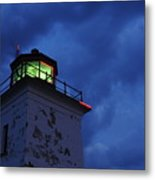Lighthouse At Night Metal Print