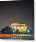 Lincoln Memorial Monument With Car Trails At Night Metal Print