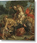 Lion Hunt Metal Print