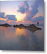 Lone Fisherman At Low Tide  Metal Print