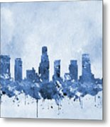 Los Angeles Skyline-blue Metal Print