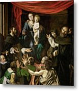 Madonna Of The Rosary Metal Print by Caravaggio