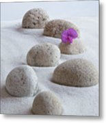 Meditation Stones Pink Flowers On White Sand Metal Print