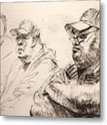 Men At Cafe Metal Print