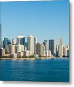 Miami Florida City Skyline Morning With Blue Sky Metal Print