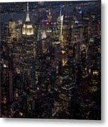 Midtown West Manhattan Skyline Aerial At Night Metal Print