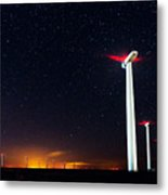Milky Way Over The Wind Turbine Metal Print