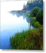 Misty Morning Big Ditch Lake Metal Print