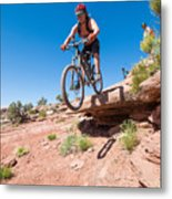 Mountain Biking The Porcupine Rim Trail Near Moab Metal Print