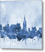 New York Skyline-blue Metal Print