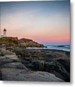 Ocean Lighthouse At Sunset Metal Print