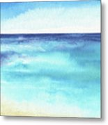 Ocean Watercolor Hand Painting Illustration. Metal Print