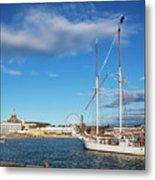 Old Sailing Boats In Helsinki City Harbor Port Finland Metal Print