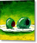 2 Olives On A White Plate Metal Print