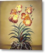 Orange Orchid Flowers Metal Print
