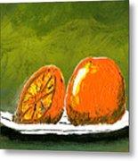 2 Oranges On A White Plate Metal Print