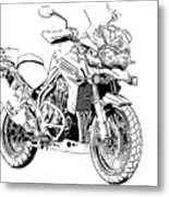 Original Motorcycle Portrait, Gift For Biker, Black And White Art Metal Print